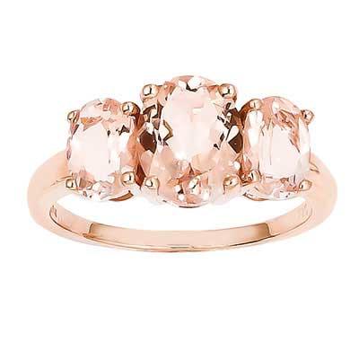 Three Stone Morganite Rose Gold Ring