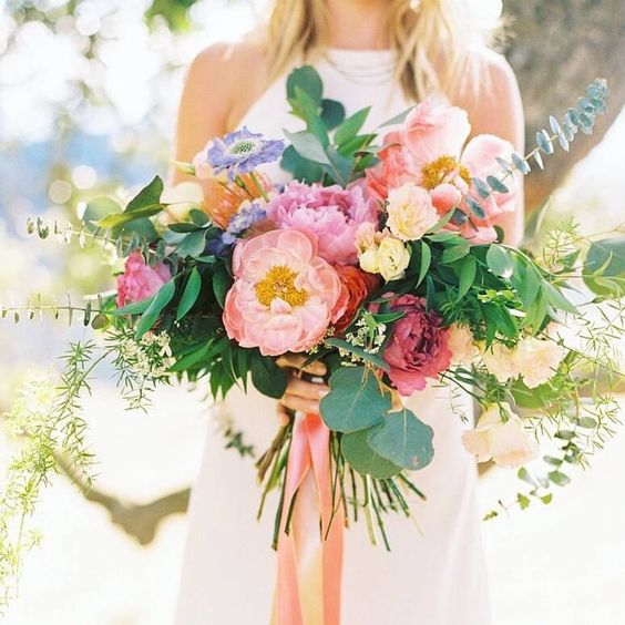 Bright Wedding Bouquet with Greenery