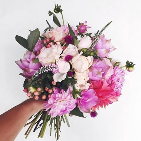 Bright Pink and Purple Wedding Bouquet