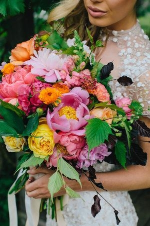 Bright Flowers in Wedding Bouquet