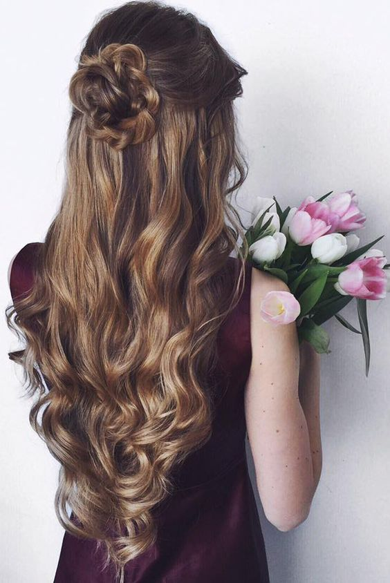 Half-up Half-down Hairstyle with Braided Bun Details