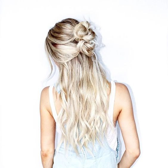 Half-up Half-down Wedding Hairstyle with Double Top Knot
