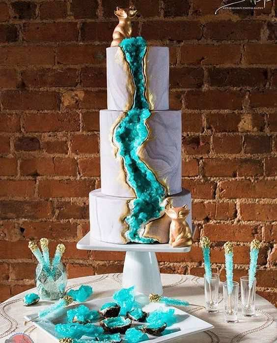 Teal and Gold Geode Wedding Cake