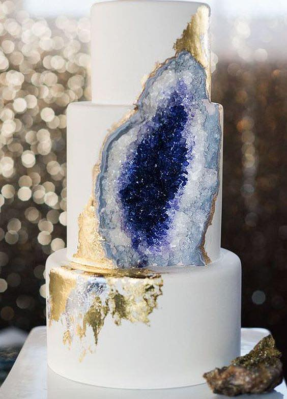 Purple Geode with Gold Wedding Cake