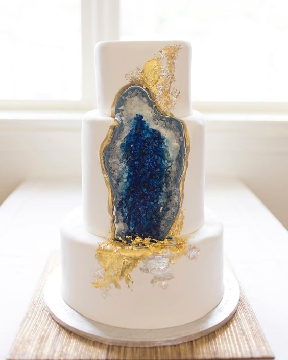Navy Geode on White Wedding Cake