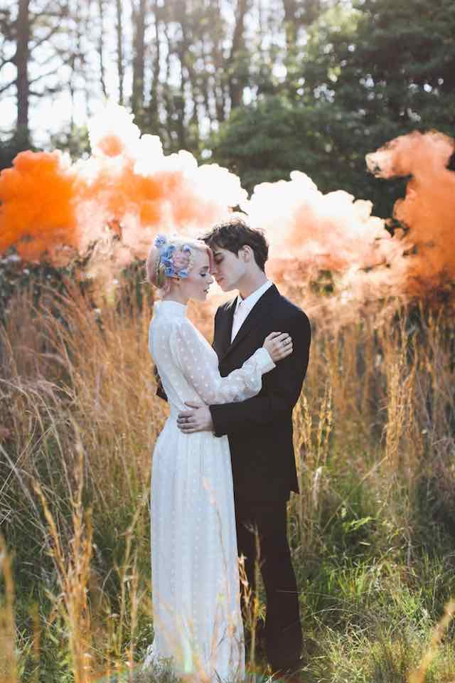 Orange Smoke Bomb Wedding Couple