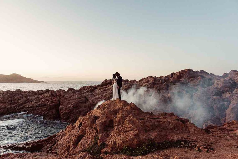 White Smoke Bomb Wedding Couple