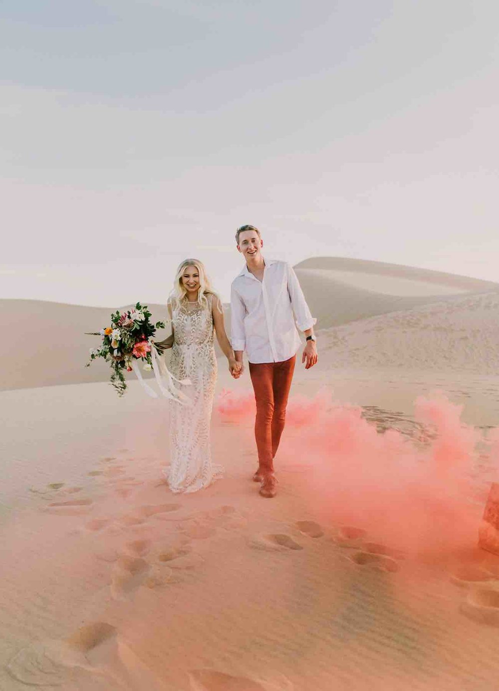 Desert Wedding with Smoke Bomb