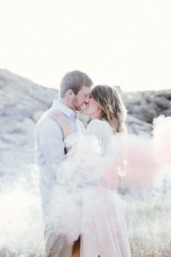 Wedding Couple with White Smoke Bomb
