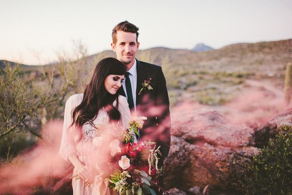 Pink Smoke Bomb with Wedding Couple