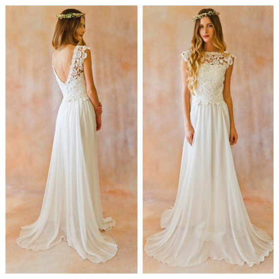 Low Back 2 Piece Wedding Dress