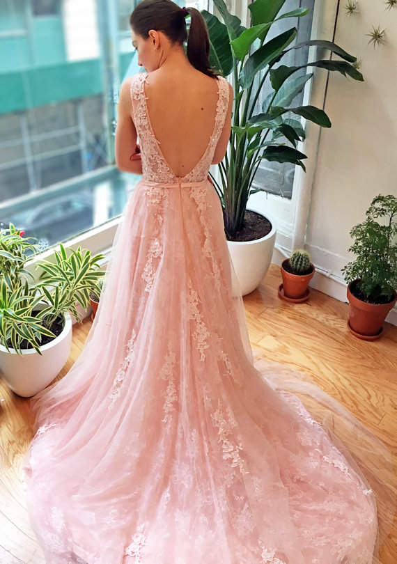 Pink and Lace Wedding Dress with Low Back