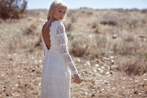 Daughters of Simone Backless Wedding Dress with Sleeves