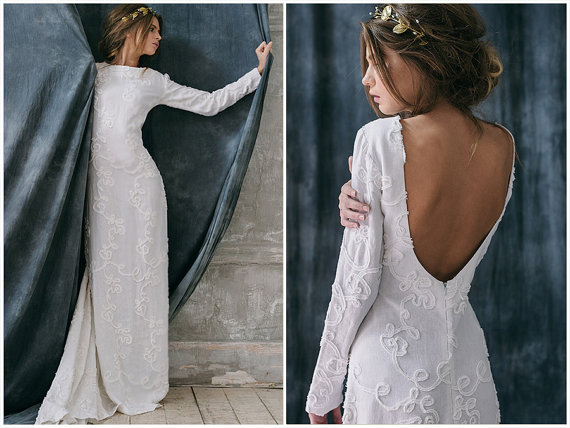 Low Back Wedding Dress Handmade with Sleeves