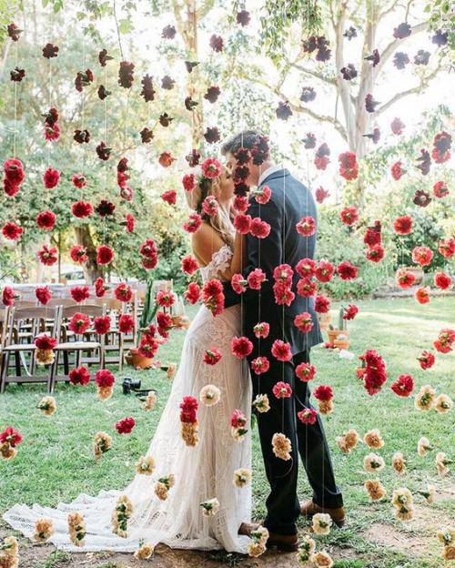Red Carnation Hanging Flower Backdrop