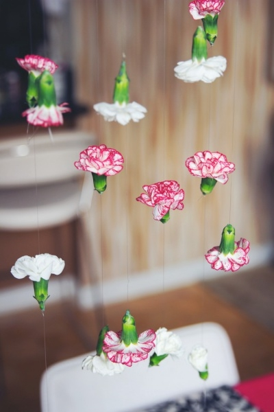 Pink & White Carnation Flower Backdrop Details