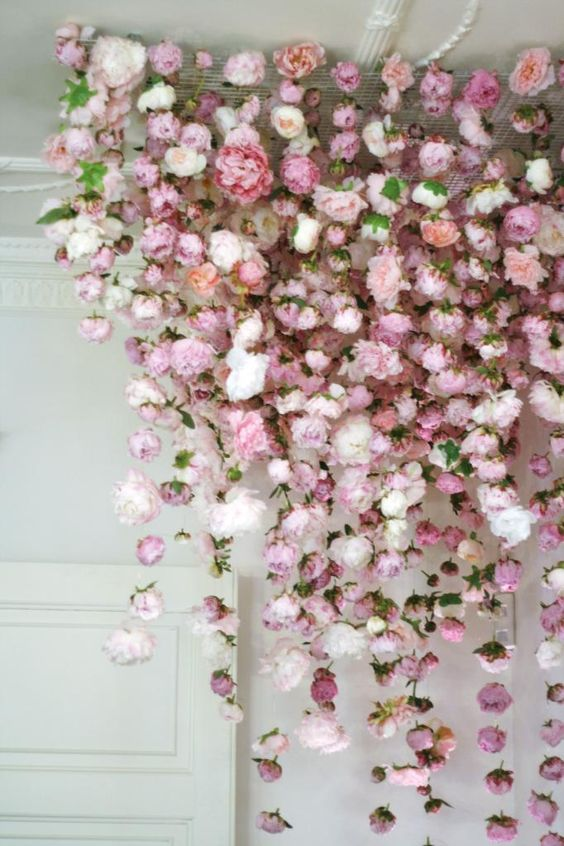 Pink Hanging Flower Installation Backdrop