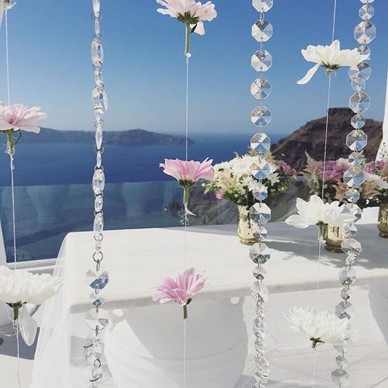 Santorini Hanging Floral Garland Backdrop