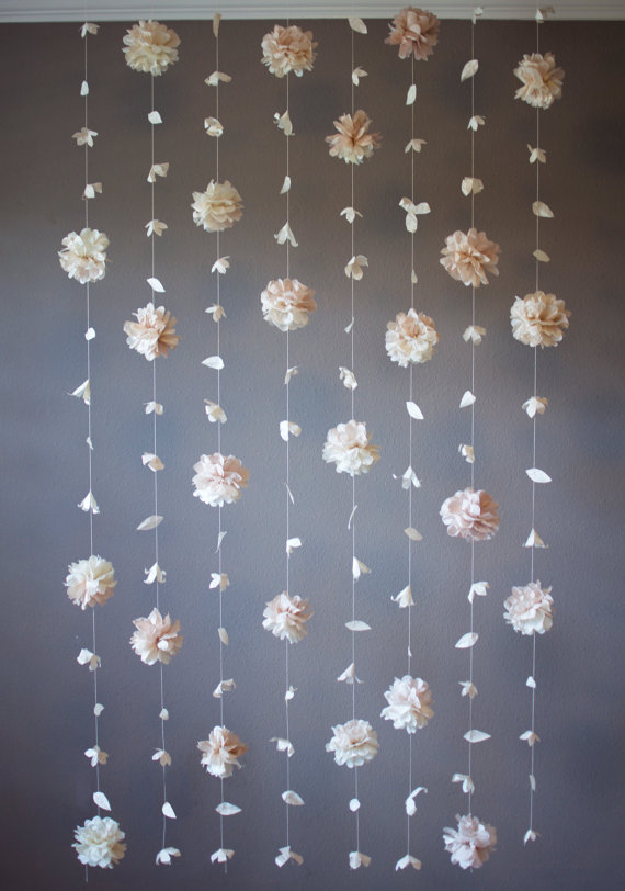 Tissue Flower Hanging Garland Backdrop