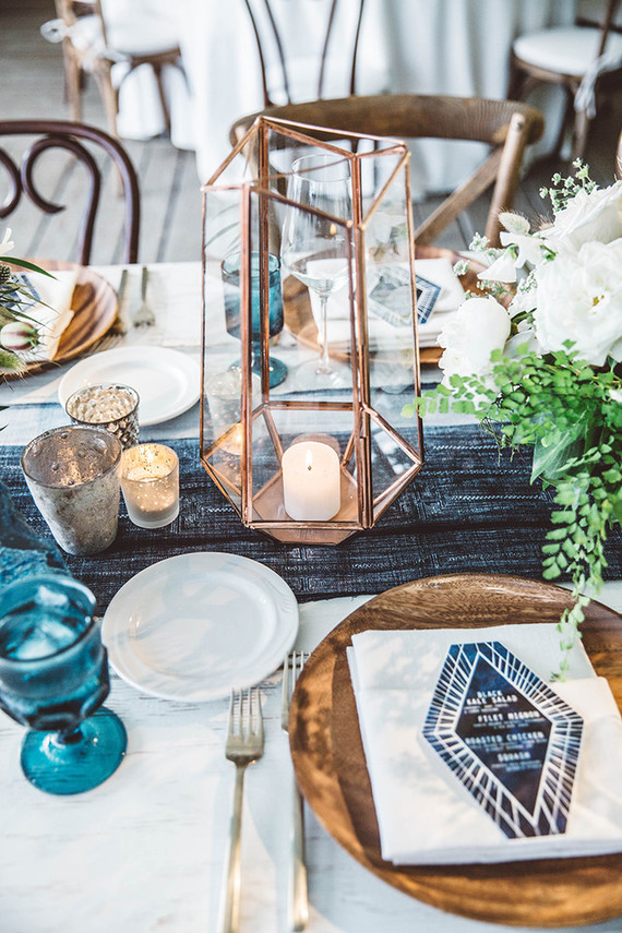 Blue and White Geometric Table Decor