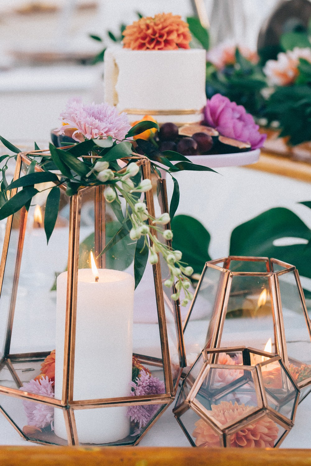 Geometric Candle Table Decor Details