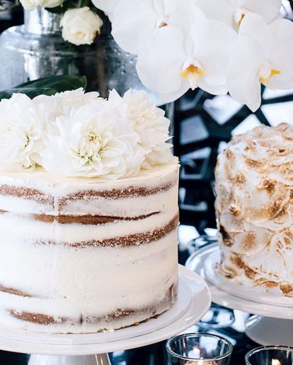 White Semi-Naked Wedding Cake with White Florals