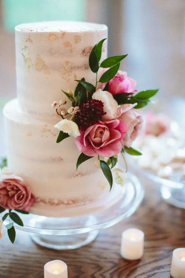 Semi-Naked Wedding Cake with Bold Florals