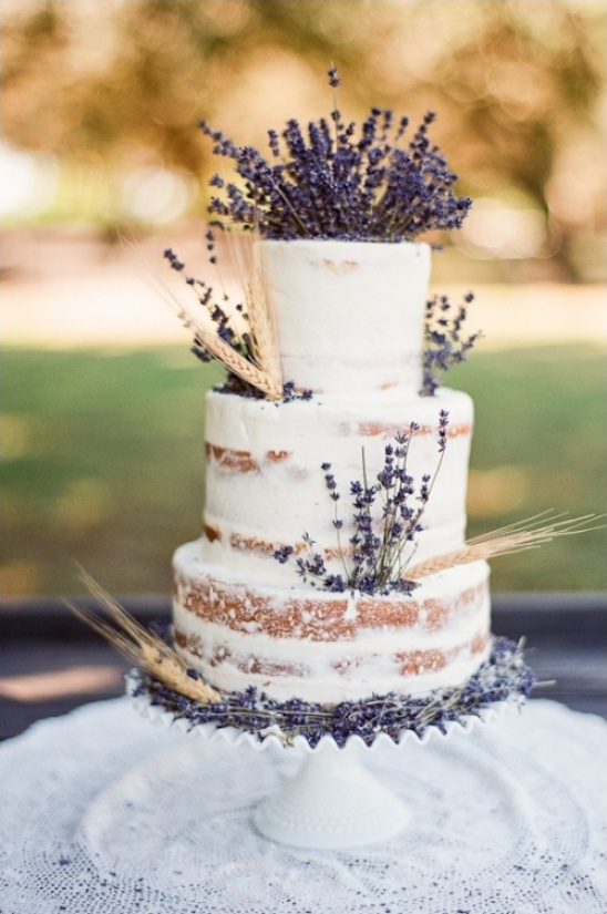 Rustic Semi-Naked Wedding Cake With Lavender