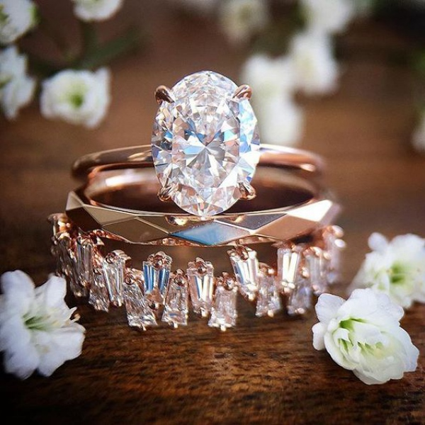 Rose Gold Diamond Engagement Ring Set