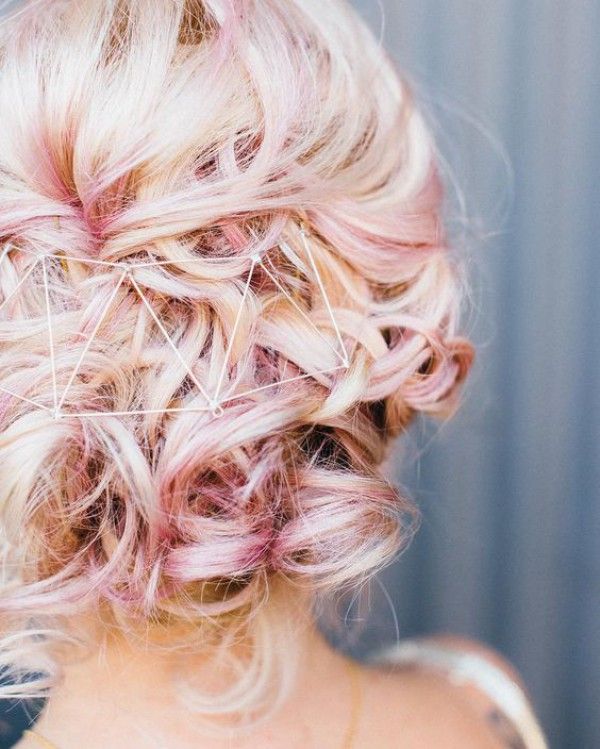 Pastel Pink Updo with Geometric Headpiece