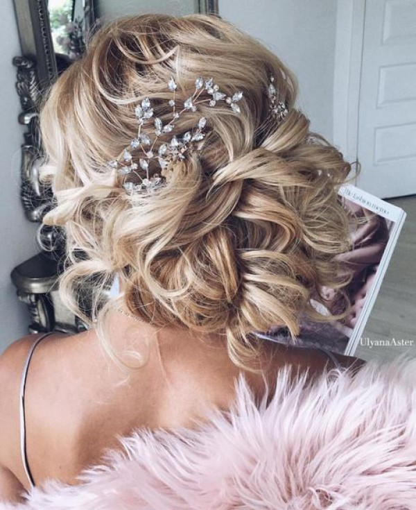 Crystal Headpiece and Messy Updo