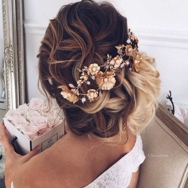 Side Messy Updo with Gold Hairpiece