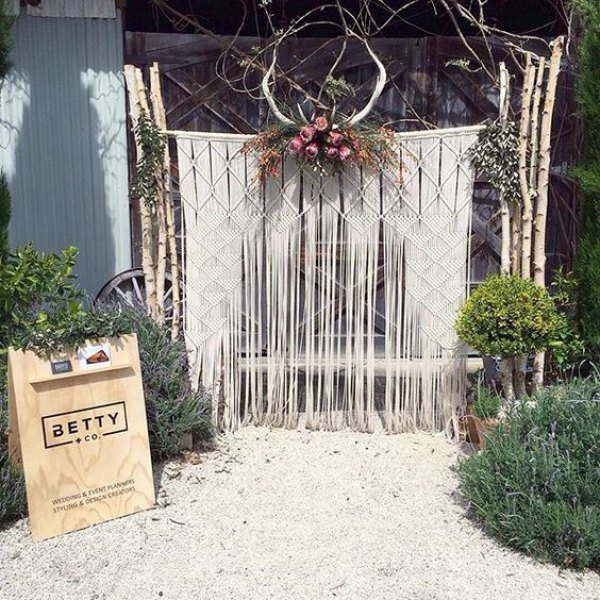 Macrame Wedding Backdrop with Antlers