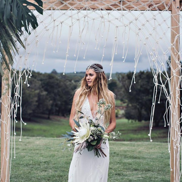 Macrame Wedding Backdrop with Bride