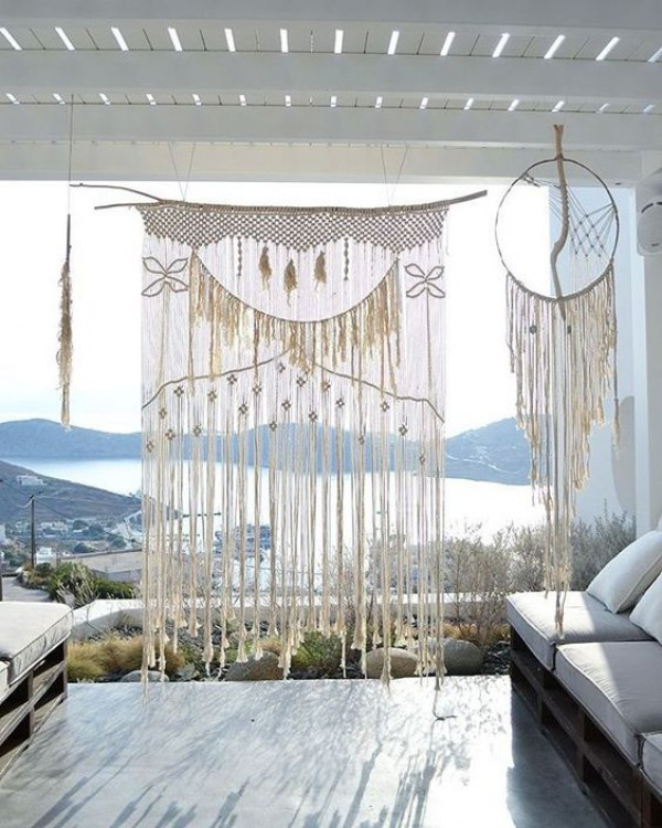 Macrame Wedding Backdrop by Sea