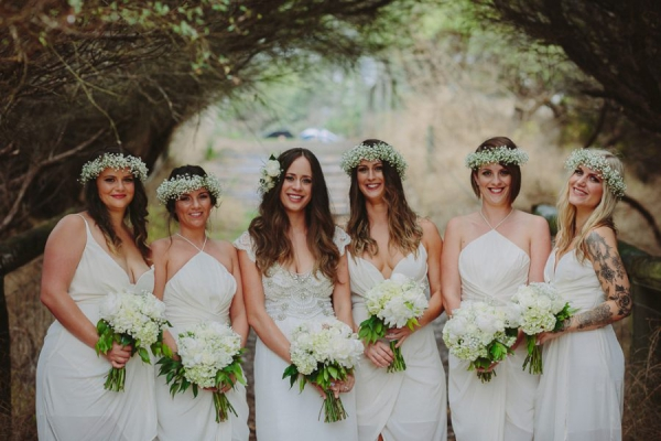 Bridal Party in All White Dresses