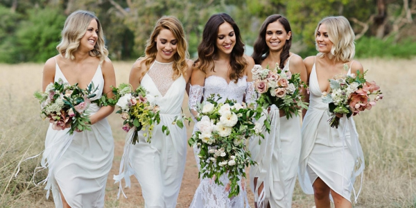 Bride and Bridesmaids in White