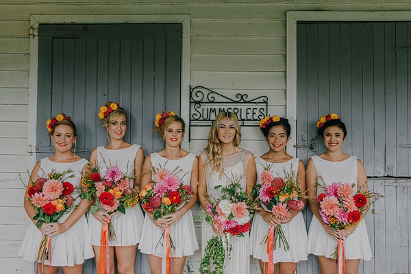 Bride and Bridesmaids in Short White Dresses