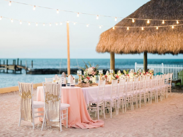 Outdoor Dining with Lights on Beach