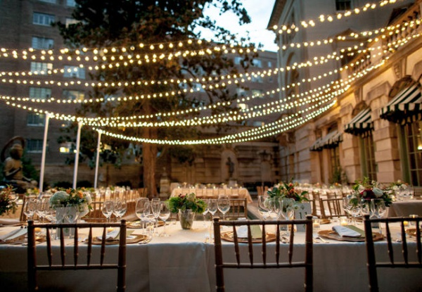 Beautiful Outdoor Dining With String Lights