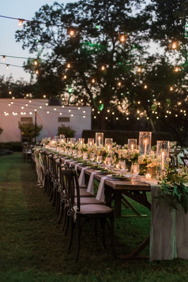 Outdoor Dining with Garden and Lights