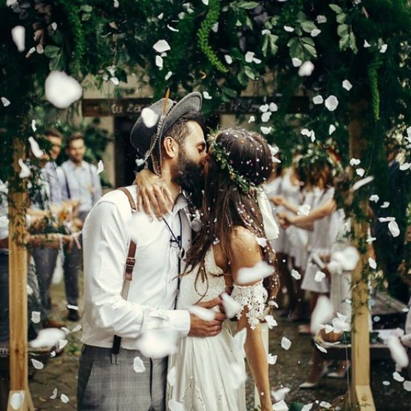 Boho Couple Kissing