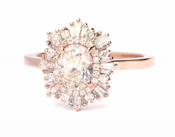 Octagon Diamond Engagement Ring in Rose Gold