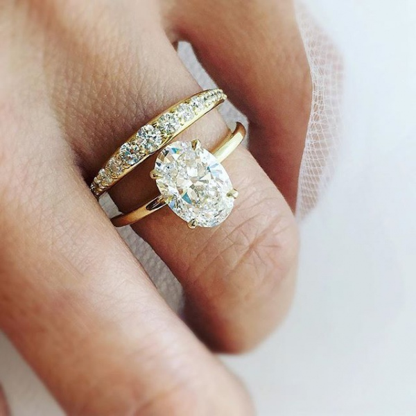 Yellow Gold and Diamond Engagement Ring with Pave Band