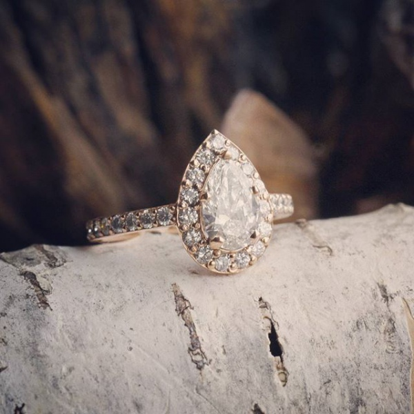 Pear Halo Engagement Ring
