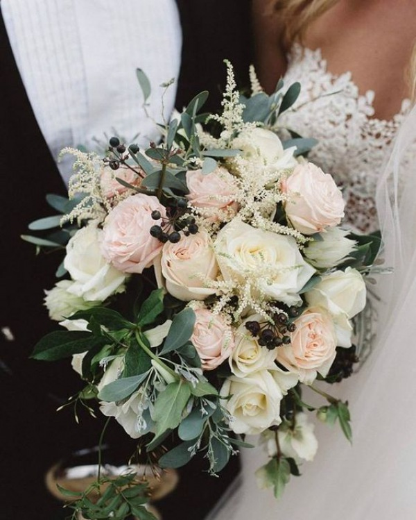 Pastel Rose Wedding Bouquet