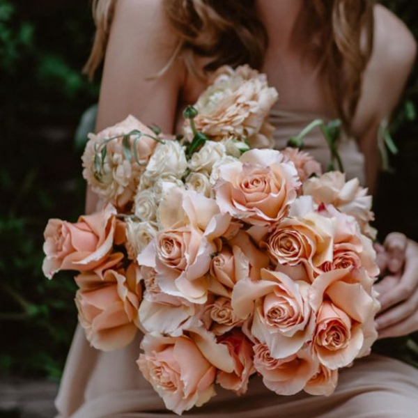 Peach Roses Wedding Bouquet