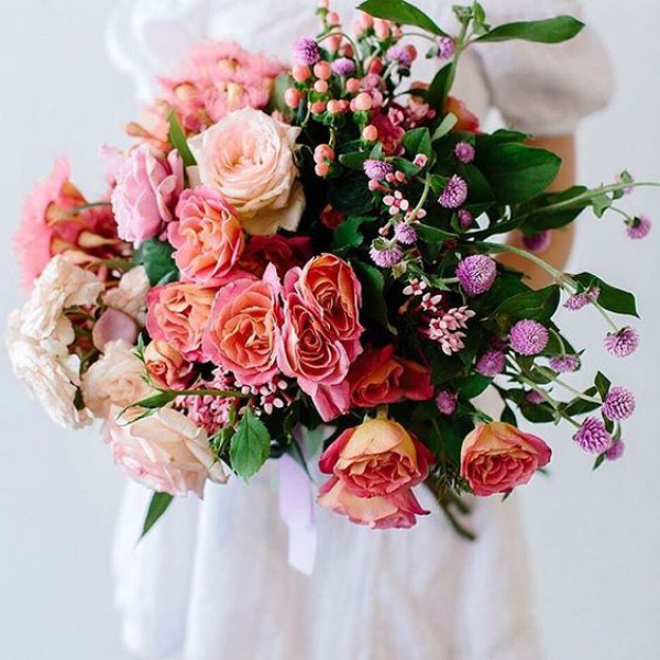 Peach and Purple Floral Wedding Bouquet