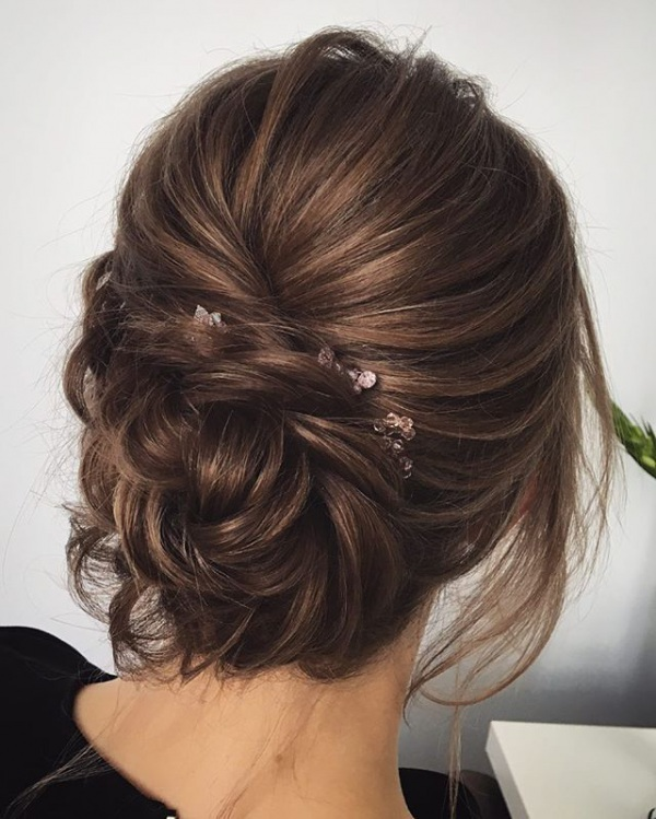 Messy Brunette Bridal Updo Hairstyle