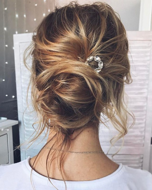 Soft Messy Bridal Updo Hairstyle